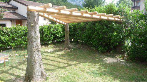 Construction d'une pergolas en mélèze sur des anciens arbres